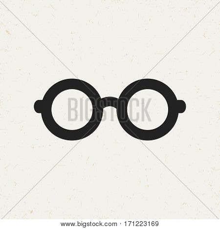 Flat monochrome glasses icon in vintage style. Isolated glasses icon for use in variety of projects. Black and white vector glasses icon for web sites and apps.