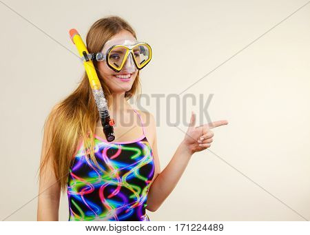 Woman With Snorkeling Mask Having Fun