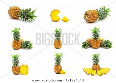 Collection Set Of Pineapples Fruit Slices Isolated On White Background