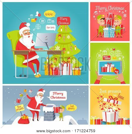 Merry Christmas. Dear Santa. Fast delivery. Best presents with love. Best sale. Set of greeting cards with Santa, elves, gift boxes. New Year celebration concept. Vector in flat style illustration
