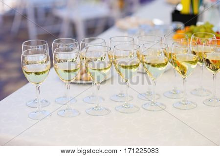 champagne glasses on the table for the wedding buffet.