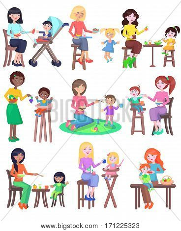 Feeding baby illustration. Young mothers of different nationalities feeding their babies set. Chair for baby. Playground. Kindergarten. Lovely kids have a meal. Food consumption. Vector in flat style