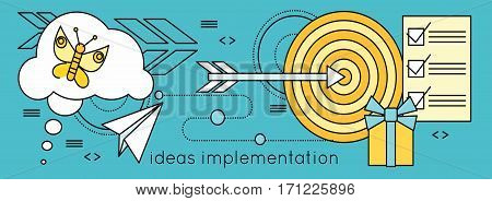 Ideas implementation background in flat. Idea generation, problem solving, strategy solution, analysis innovation, research, brainstorm, good solution, optimization, insight inspiration illustration