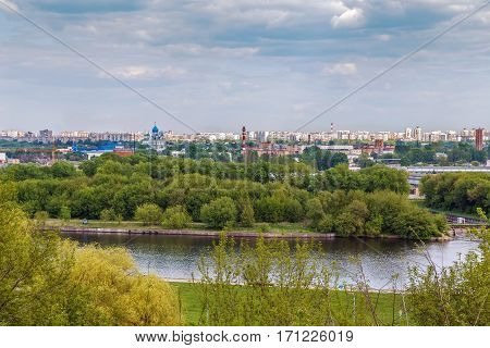 View of Moscow from the high bank of the Moscow River in Kolomenskoye Russia