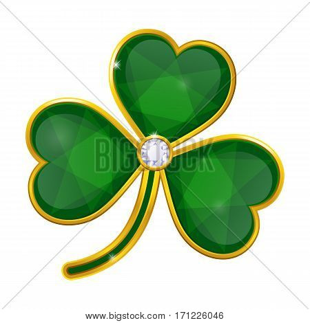 vector shamrock badge with emeralds on white background
