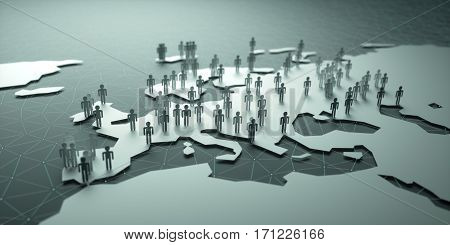 Europe Population. 3D illustration of people on the map representing the country's demography.