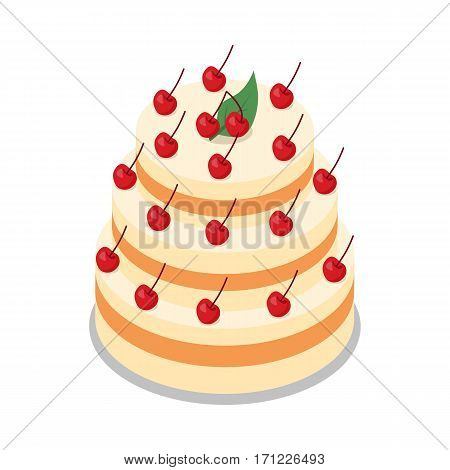 Big cake in three tiers on round plate isolated on white illustration. Light cake decorated with many red cherries. Simple cartoon style. Baked dessert with whipped white cream. Flat design. Vector