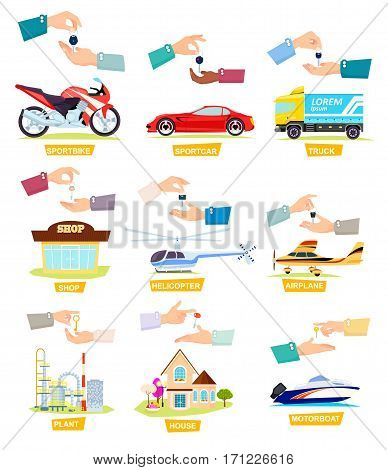 Set of icons with selling, buying cars, houses. Ilustrations showing passing keys to other hands. Sportbike. Sports Car. Truck. Shop. Helicopter. Airplane. Plant. House Motorboat Cartoon style Vector
