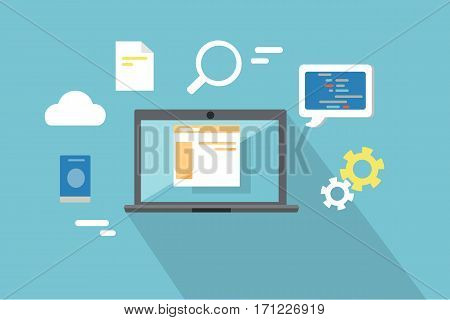 Web design, SEO infographic concept. Gray laptop on blue background with communication and design pictograms around. Website development project, SEO process information, website design process