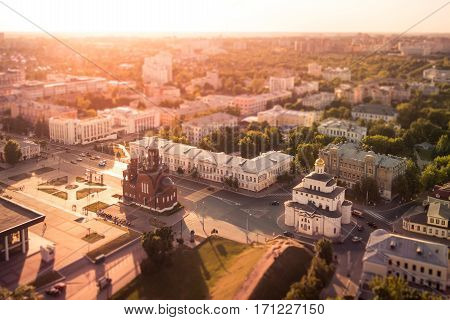 The Golden Gate in Vladimir, Russia in aerial view summer