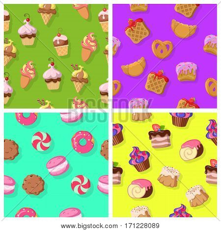 Croissants, wafers, pretzel with poppy and cupcakes, round cake, cake with flowing chocolate cream, chocolate swiss roll, chocolate biscuit, macaroon, caramel candy seamless pattern set. Vector