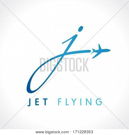 J letter jet travel company logo. Airline business travel logo design with letter