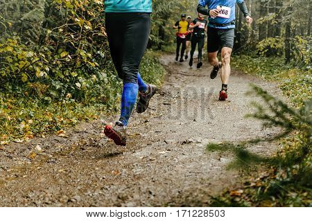 group runners run forest trail feet in mud