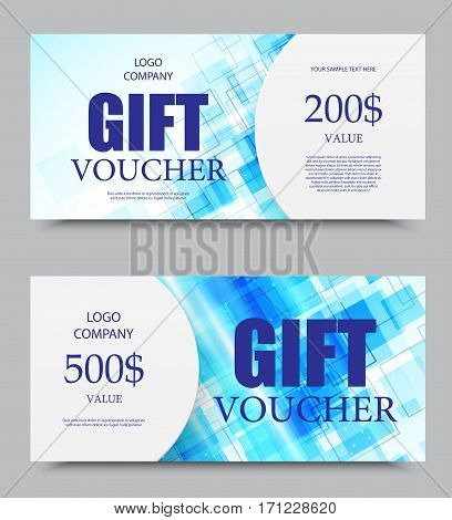 Gift company voucher template on five and two hundred dollars with blue digital geometric square surface pattern. Vector illustration