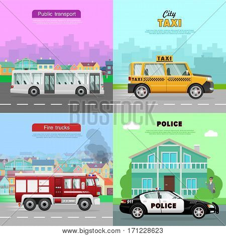 Transport. Collection of four pictures. Urban public transport in city. White long passengers bus. Red fire truck on six wheels. Police car near bank. Taxi on road. Simple cartoon design. Vector