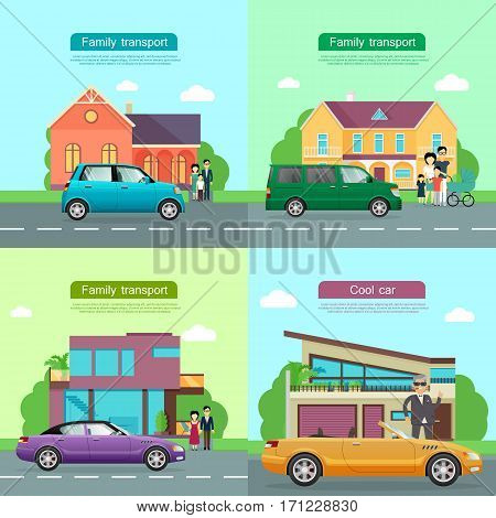 Family transport. Collection of four automobile icons. Small blue automobile, green minivan and violet car with shifted roof on road near houses and families. Cool yellow cabriolet near man. Vector
