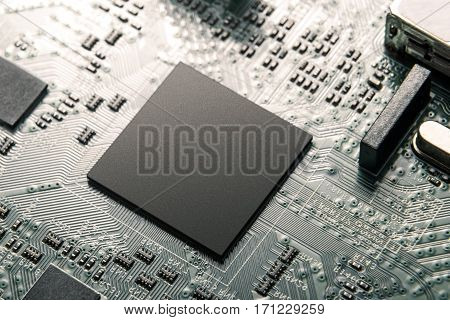central processor unit on the mainboard closeup
