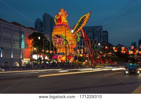 January 2017 - Giant Rooster displayed in Singapore's Chinatown for the celebration of Chinese New Year - Year of The Rooster 2017