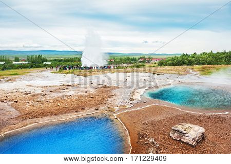 Thermal Lake Blesi And Eruption Of Strokkur Geysir