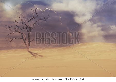 Dead tree in deserted sand dune under moody cloudy sky. Drought, climate change concepts and surreal landscape. Digital photo manipulation. Copy space for text.