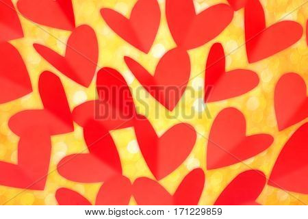 Valentine Day Concept, Red Paper In Heart Shape With Gold Glitter As Background