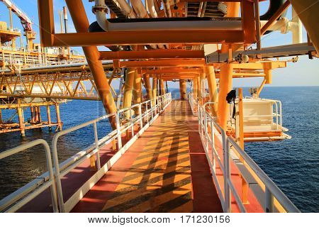Gangway or walk way in oil and gas construction platform, oil and gas process platform, remote platform for production oil and gas, Construction in offshore.