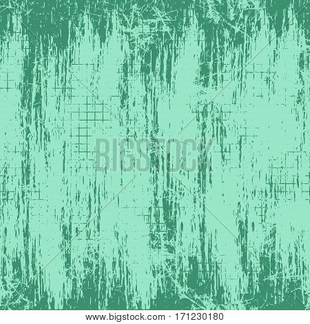 Vector background. Template, old style vintage design. Graphic illustration. Grungy green textured background with attrition, cracks and ambrosia.