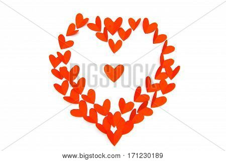 Valentine Day Concept, Red Paper In Heart Shape As Background