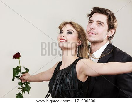 Enamoured Couple In Titanic Gesture.