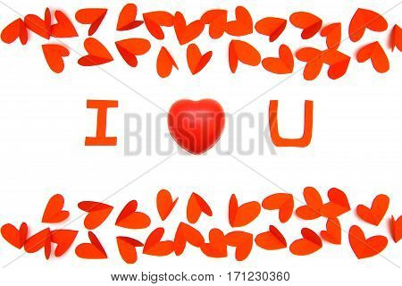 Valentine day concept red paper in heart shape as background