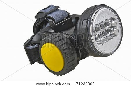 small head- mounted flashlight on white background