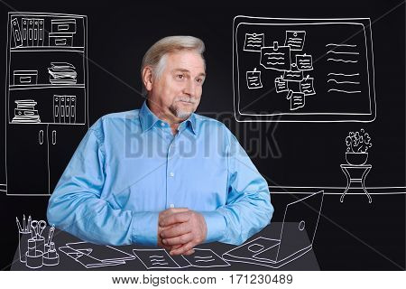 University professor. Positive delighted elderly man sitting at the table and working on the laptop while teaching at college