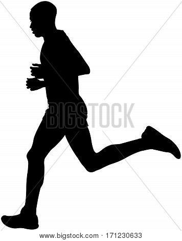 Kenyan athlete marathon runner running black silhouette