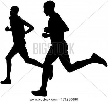 two kenyan runner athlete marathon leaders run black silhouette
