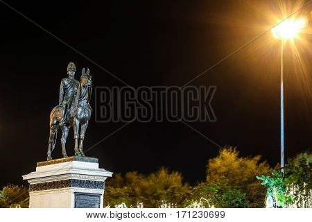 Bangkok Thailand OCTOBER 08 2016: Night time of King Rama V statue monument in Bangkok Thailand.