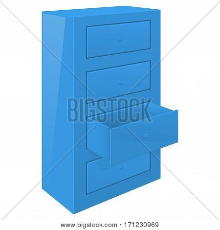 Office cabinet with open drawer. Blue furniture element. Vector illustration isolated on white background