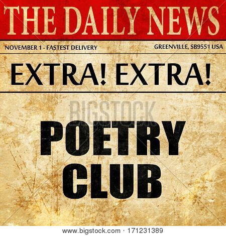poetry club, article text in newspaper