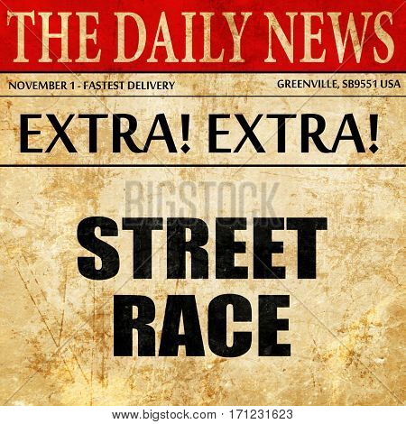 street race, article text in newspaper