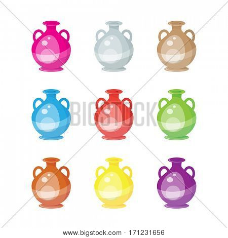 Nine Greek Urns isolated over white background. A selection of classical style urns used for storage of wine or olive oil in ancient Greece.