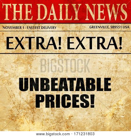 unbeatable prices, article text in newspaper