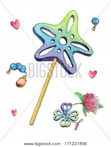 Decorations with magic wand clover pendant and nice gems