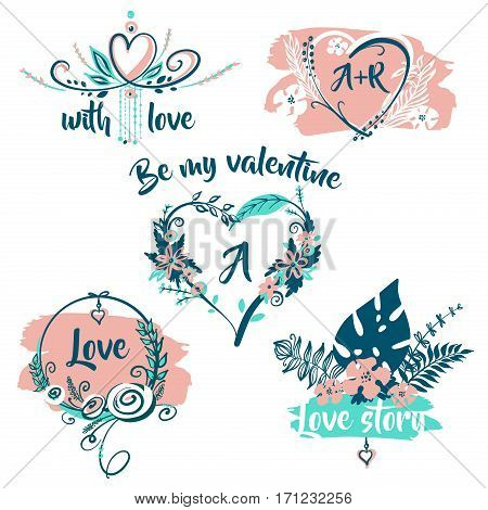 Hand Drawn Typography Poster. Be My Valentine With Love Story. S