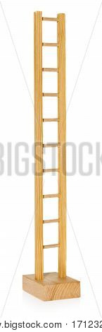 The wooden ladder a toy for children to play. The ladder in a standing position on a white background with slight reflection.