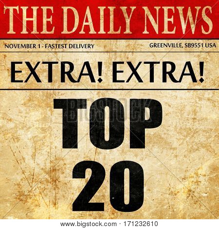 top 20, article text in newspaper