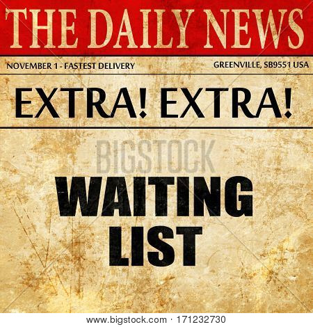 waiting list, article text in newspaper