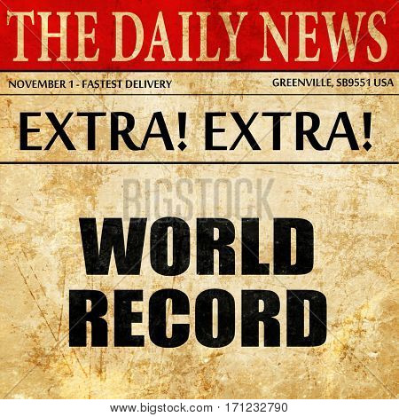 world record, article text in newspaper