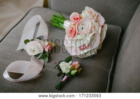 Wedding bouquet and boutonniere. Wedding day. Sweet