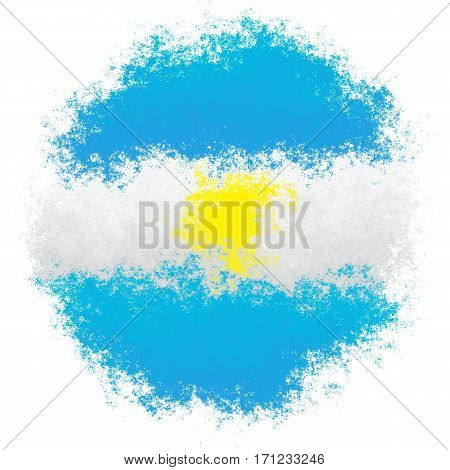 Color spray stylized flag of Argentina on white background