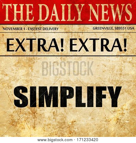 simplify, article text in newspaper