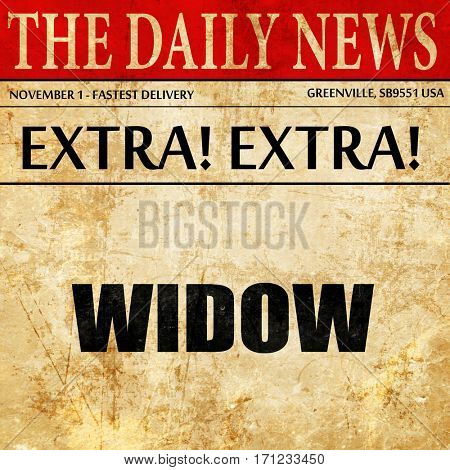 widow, article text in newspaper